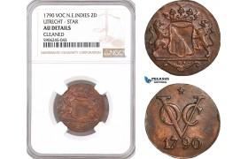 AF614, Netherlands East Indies, VOC, 2 Duits 1790, Utrecht Arms, NGC AU Det.