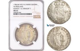 AF615, Netherlands East Indies, VOC, Gulden 1786/64, Silver, West Friesland Arms, Roman 1 & Straight 7, NGC MS63, Pop 1/0