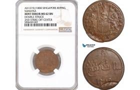 AF634, Netherlands East Indies, Singapore, Sumatra, 1 Keping AH1219 / 1804, NGC MS62BN, Mint Error