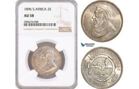 AF636, South Africa (ZAR) 2 Shillings 1896, Pretoria, Silver, NGC AU58