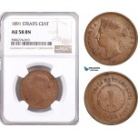 AF638, Straits Settlements, Victoria, 1 Cent 1891, NGC AU58BN