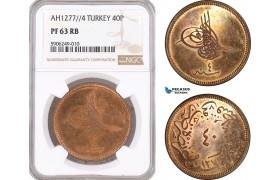 AF644, Ottoman Empire, Turkey, Abdülaziz, 40 Para AH1277/4, NGC PF63RB