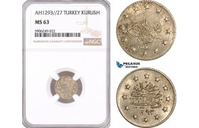 AF645, Ottoman Empire, Turkey, Abdülhamid II, 1 Kurush AH1293/27, Silver, NGC MS63