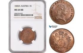 AF647, Austria, Franz II, 1 Kreuzer 1800-A, Vienna, NGC MS64RB, Pop 1/1