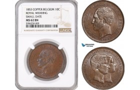 AF653, Belgium, Leopold I, 10 Centimes 1853, Copper, Royal Wedding, Small date, NGC MS62BN