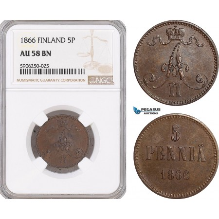 AF669, Finland, Alexander II. of Russia, 5 Penniä 1866, NGC AU58BN
