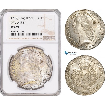AF673, France, Louis XV, Ecu 1765 (COW) Pau, Silver, Dav-A1331, NGC MS63, Pop 2/0