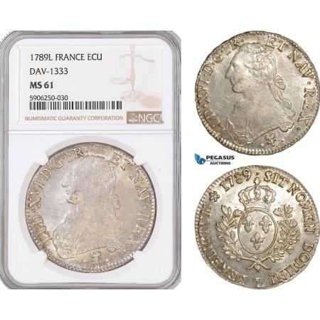 AF674, France, Louis XV, Ecu 1789-L, Bayonne, Silver, Dav-1333, NGC MS61, Pop 2/1
