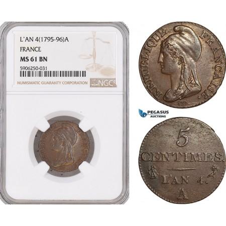 AF675, France, First Republic, 5 Centimes L'AN 4 (1795-96) A, Paris, NGC MS61BN