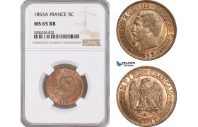 AF676, France, Napoleon III, 5 Centimes 1853-A, Paris, NGC MS65RB