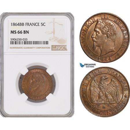 AF677, France, Napoleon III, 5 Centimes 1864-BB, Strasbourg, NGC MS66BN, Pop 1/1