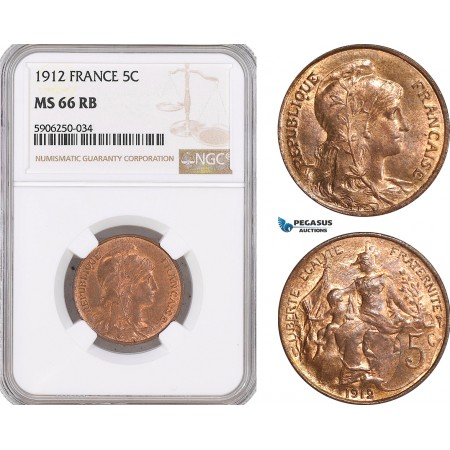 AF678, France, Third Republic, 5 Centimes 1912, NGC MS66RB, Top Pop!