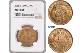 AF679, France, Third Republic, 10 Centimes 1885-A, Paris, NGC MS64RB