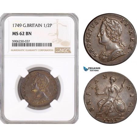 AF681, Great Britain, George II, Half Penny (1/2p) 1749, London, NGC MS62BN