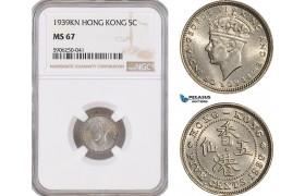 AF685, Hong Kong, George VI, 5 Cents 1939-KN, Kings Norton, NGC MS67, Pop 1/0