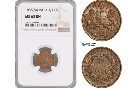 AF686, India (British) 1/12 Anna 1835 (M) Madras, NGC MS63BN