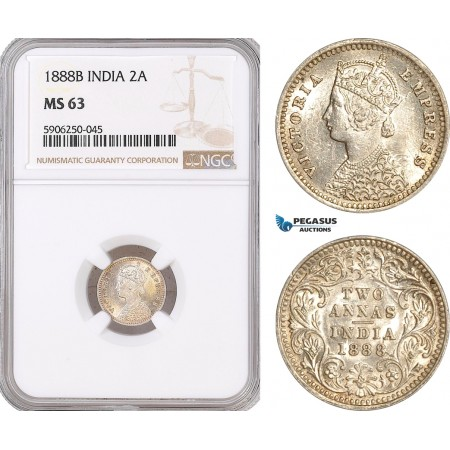 AF688, India (British) Victoria, 2 Annas 1888-B, Bombay, Silver, NGC MS63