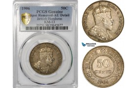 AF691, British Honduras, Edward VII, 50 Cents 1906, Silver, PCGS AU Det.