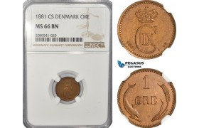 AF692, Denmark, Christian IX, 1 Øre 1881, Copenhagen, NGC MS66BN, Pop 1/0, Very Rare!