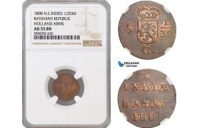 AF695, Netherlands East Indies, Batavian Rep. 1/2 Duit 1809, Holland Arms, NGC AU55BN
