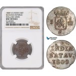 AF696, Netherlands East Indies, Batavian Rep. 1 Duit 1808, Holland Arms, NGC UNC Det.
