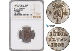 AF696, Netherlands East Indies, Batavian Rep. 1 Duit 1808, Holland Arms, NGC UNC Det.