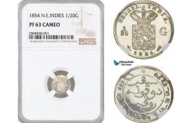 AF697, Netherlands East Indies, 1/20 Gulden 1854, Utrecht, Silver, NGC PF63 Cameo, Rare!