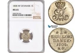 AF739, Denmark, Frederik VI, 1 Skilling 1808 MF, Copenhagen, Silver, NGC MS65