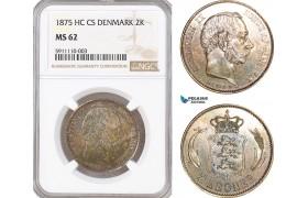 AF740, Denmark, Christian IX, 2 Kroner 1875, Copenhagen, Silver, NGC MS62