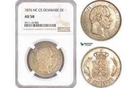 AF741, Denmark, Christian IX, 2 Kroner 1876, Copenhagen, Silver, NGC AU58