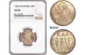 AF742, Danish West Indies, Christian IX, 1 Franc / 20 Cents 1905, Copenhagen, Silver, NGC AU58