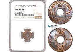 AF762, Hong Kong, Victoria, Mil 1863, NGC MS66BN