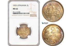 AF769, Lithuania, 2 Litu 1925, Silver, NGC MS62