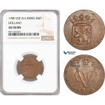 AF771, Netherlands East Indies, VOC, 1 Duit 1780, Holland Arms, NGC AU58BN