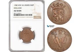 AF771, Netherlands East Indies, VOC, 1 Duit 1780, Holland Arms, NGC AU58BN