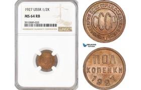 AF797, Russia, USSR, 1/2 Kopek 1927, Leningrad, NGC MS64RB