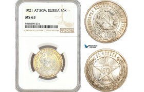 AF798, Russia (Soviet) 50 Kopeks 1921 (АГ) Leningrad, Silver, NGC MS63