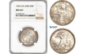 AF800, Russia, USSR, 50 Kopeks 1926 (NA) Leningrad, Silver, NGC MS62+