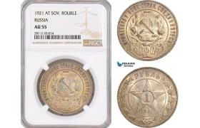 AF801, Russia (Soviet) Rouble 1921, Leningrad, Silver, NGC AU55
