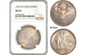 AF802, Russia, USSR, Rouble 1924, Leningrad, Silver, NGC MS64