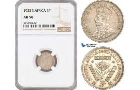 AF803, South Africa (Union) George V, Threepence (3p) 1933, Pretoria, Silver, NGC AU58