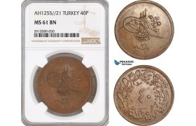 AF821, Ottoman Empire, Turkey, Abdulmecid, 40 Para AH1255//21, NGC MS61BN