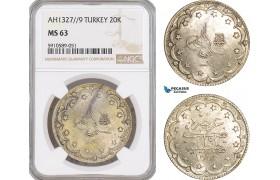 AF822, Ottoman Empire, Turkey, Mehmet Reshad V, 20 Kurush 1327//9, Silver, NGC MS63