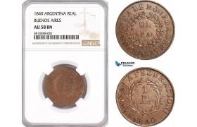 AF830, Argentina, Buenos Aires, Real 1840, NGC AU58BN