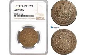 AF837, Brazil, Pedro I, 20 Reis 1830-R, Rio de Janeiro, NGC AU53BN, Pop 1/0