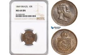 AF838, Brazil, Pedro II, 10 Reis 1869, NGC MS64BN