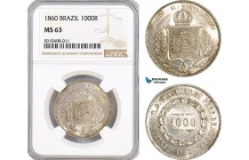 AF840, Brazil, Pedro II, 1000 Reis 1860, Silver, NGC MS63