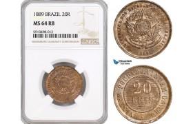 AF841, Brazil, 20 Reis 1889, NGC MS64RB