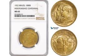 AF842, Brazil, 1000 Reis 1922, Independence Centennial, NGC MS65