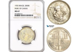 AF843, Brazil, 2000 Reis 1935, Silver, Duke of Caxias, NGC MS67